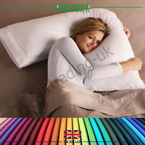 New-Hollowfibre-V-Shaped-Pillow-Free-Pillow-Case-Neck-Shoulder-Back-Support