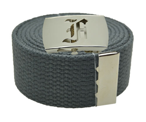"""60 Canvas Military Web Belt /& BIG /""""F/"""" Silver Buckle 48 54 72 Inches 25 Color"""