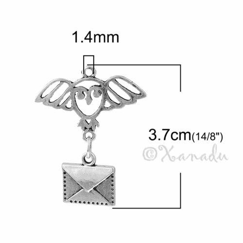 5 Or 10PCs Hogwarts Letter 37mm Antiqued Silver Plated Charm Pendants C5357-2