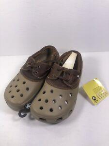e13d980c53e92b Image is loading Crocs-Islander-Khaki-Brown-Leather-Shoes