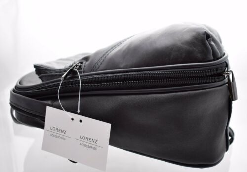 Ladies Womens High Quality Soft Leather Backpack Rucksack Handbag Black 1909