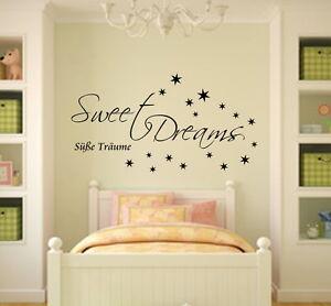 Wandtattoo Wandaufkleber Schlafzimmer Sweet Dreams Spruch Sternen ...