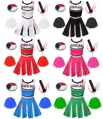 Enfants ou adultes Zombie Cheerleader École Déguisement Costume Halloween BLK