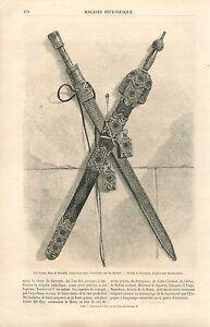 Les-Armes-de-Boabdil-Armeria-Real-de-Madrid-Espagne-GRAVURE-ANTIQUE-PRINT-1860