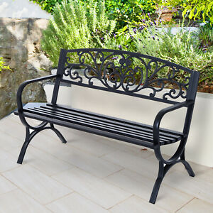 "Outsunny 50"" Garden Park Loveseat Cast Iron Outdoor Bench Black"