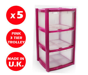 Image Is Loading 5 X 3 DRAWER PLASTIC STORAGE DRAWER CHEST