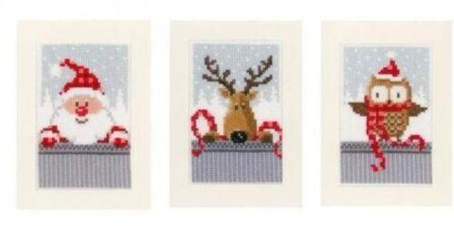 Vervaco 3 unidades tarjeta de navidad stickset punto de cruz pn-0149384