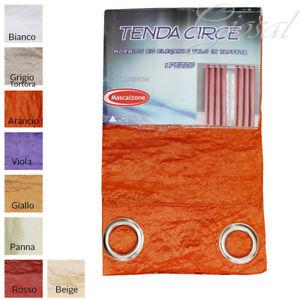 Tenda-Circe-Taffeta-Stropicciata-Arredo-Casa-Porte-Finestre-Con-Anelli-Semios