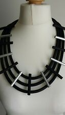 Necklace Black rubber silver metal tribal German style statement Lagenlook BNWOT