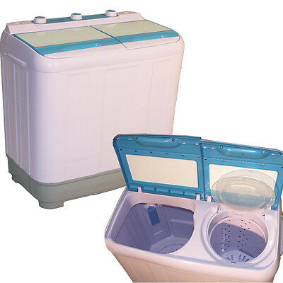 6.5KG COMPACT TOP LOAD TWIN TUB PORTABLE WASHING MACHINE SPIN DRYER SELF DRAIN