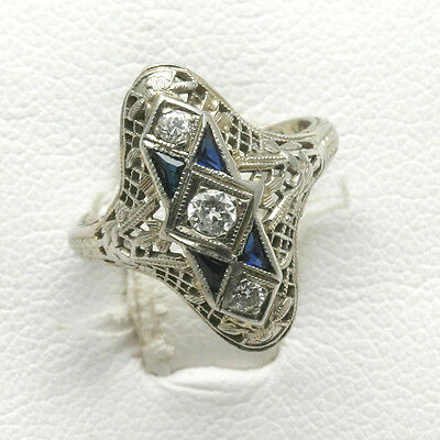 Estate 1920's 18k white gold diamond and sapphire antique filigree 3 stone ring