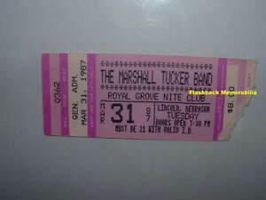 Details about MARSHALL TUCKER BAND Concert Ticket Stub 1987 LINCOLN NE  Royal Grove VERY RARE