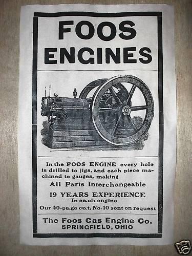 """220 VINTAGE REPRINT ADVERT FOOS GAS ENGINE 1907 11/""""x17/"""""""