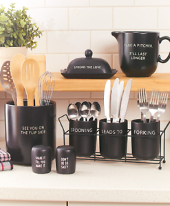 Details about Kitchen Utensil Holder Crock Salt Pepper Shakers Stoneware  Countertop Flatware
