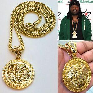 New Mens Rappers Round Medallion Greek God Pendant Gold Franco Chain Necklace Ebay