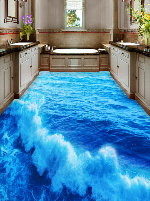 3D Blau Ocean Wave 5 Floor WallPaper Murals Wall Print Decal AJ WALLPAPER Summer
