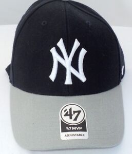 de74fdc5ddc NEW YORK YANKEES Logo Baseball Ballcap Cap Curved  47 MVP~Fabric ...