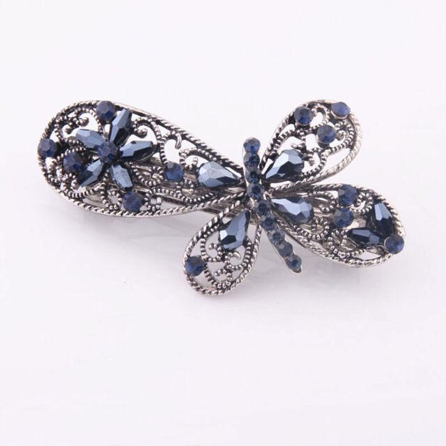 Women's Blue French Barrette Flower Hairpin Hair Pins Hair Clips Accessories