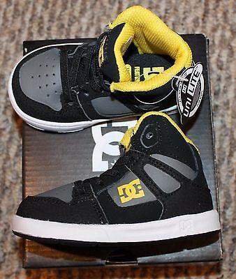 DC Rebound UL Black//Yellow Toddler Size Skateboarding Shoes 320167