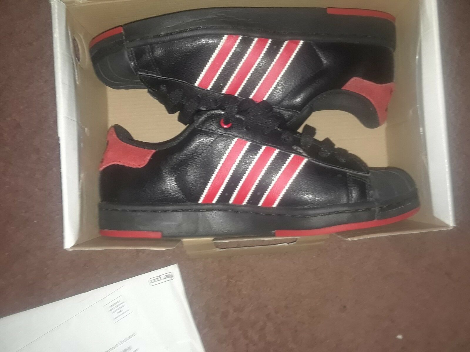 MEN'S ADIDAS SUPERSTAR FOUNDATION SHOES BLACK RED gold SHELL TOE. TRIED ON ONCE