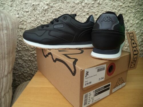 RRP £39.99 NEW BOYS SIZE 10 12 13 2 KAPPA TRAINERS BLACK SPORTS SHOES