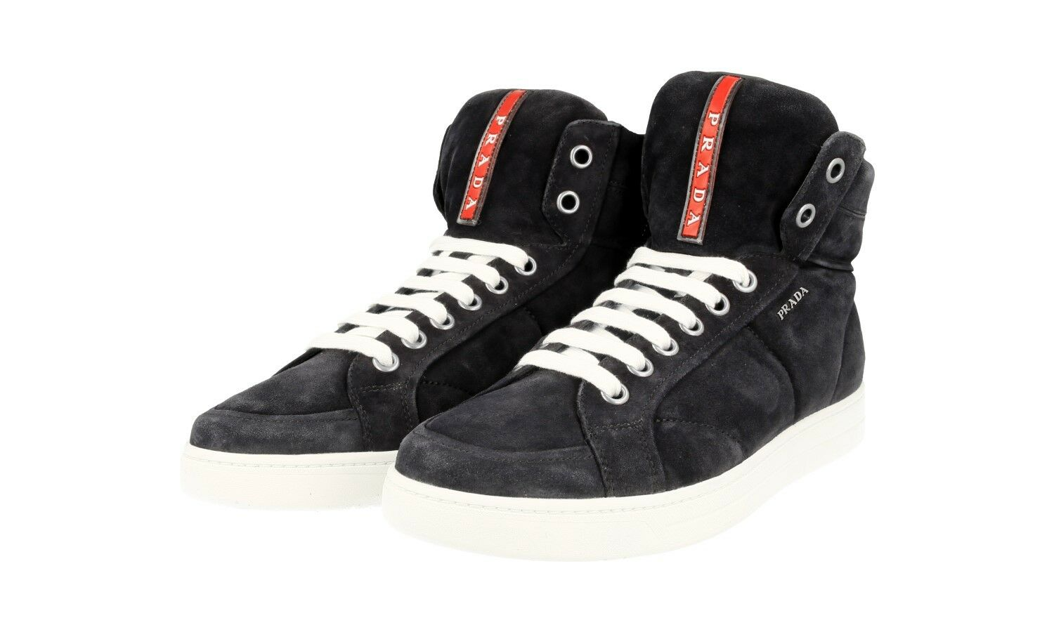 AUTH LUXURY PRADA HIGH TOP SNEAKERS SCARPE 4T2596 BLU NEW US 11 EU 44 44,5