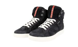 0be7d69cc14f AUTH LUXURY PRADA HIGH TOP SNEAKERS SHOES 4T2596 BLUE NEW US 9 EU 42 ...