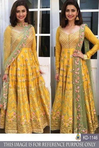 Yellow Party Wear Anarkali Suit Mexi Dress Gown Ethnic Designer Salwar kameez