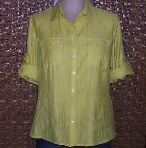 Erin london textured yellow 3 4 roll sleeve button down for Bamboo button down shirts