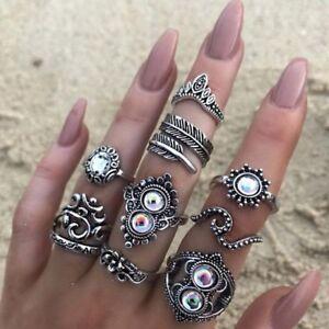 16-Teile-satz-Vintage-Silber-Kristall-Party-Ring-Set-Frauen-Mode-Ringe-mode