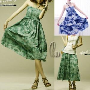 AU-SELLER-BOHO-Tie-Dye-Cotton-Convertible-Tube-Beach-Dress-Long-Skirt-dr050