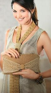 KNITTING-PATTERN-Ladies-Lace-Scarf-amp-Matching-Clutch-Bag-Accessory-Anchor-MAKE