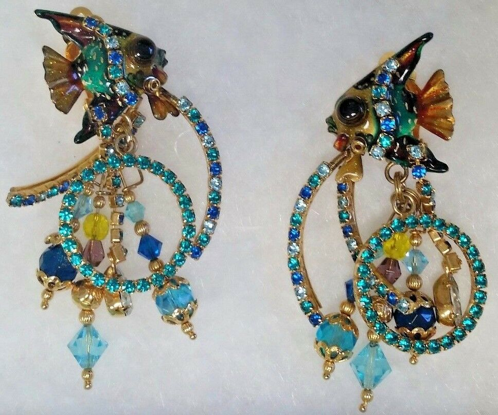 LATR Lunch At The Ritz Clip-On Earrings - Tropical Angel Fish