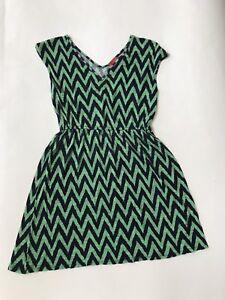 b22f251fa263 Ella Moss Girls Green Blue Chevron Print Sleeveless Knit Dress Size ...