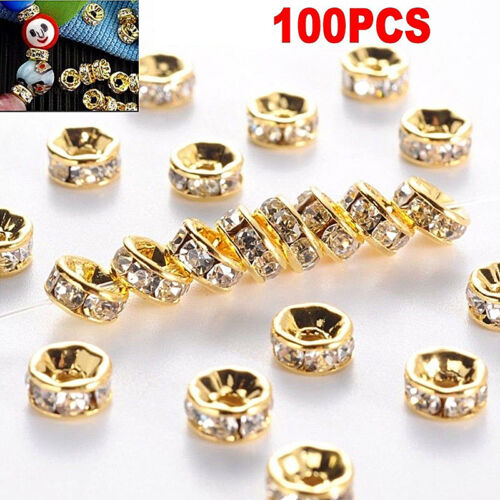 100x Silver Gold Crystal Rhinestone Rondelle Spacer Beads DIY 6mm 8mmJ&S Beads & Jewellelry Making Supplies Jewellery Making Beads