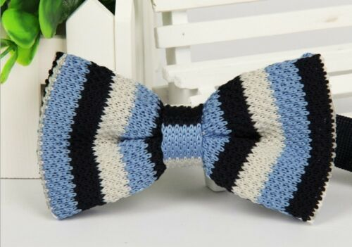 ZZBW206 Men/'s Sky Blue White Striped Bowtie Knit Knitted Pre Tied Bow Tie Woven