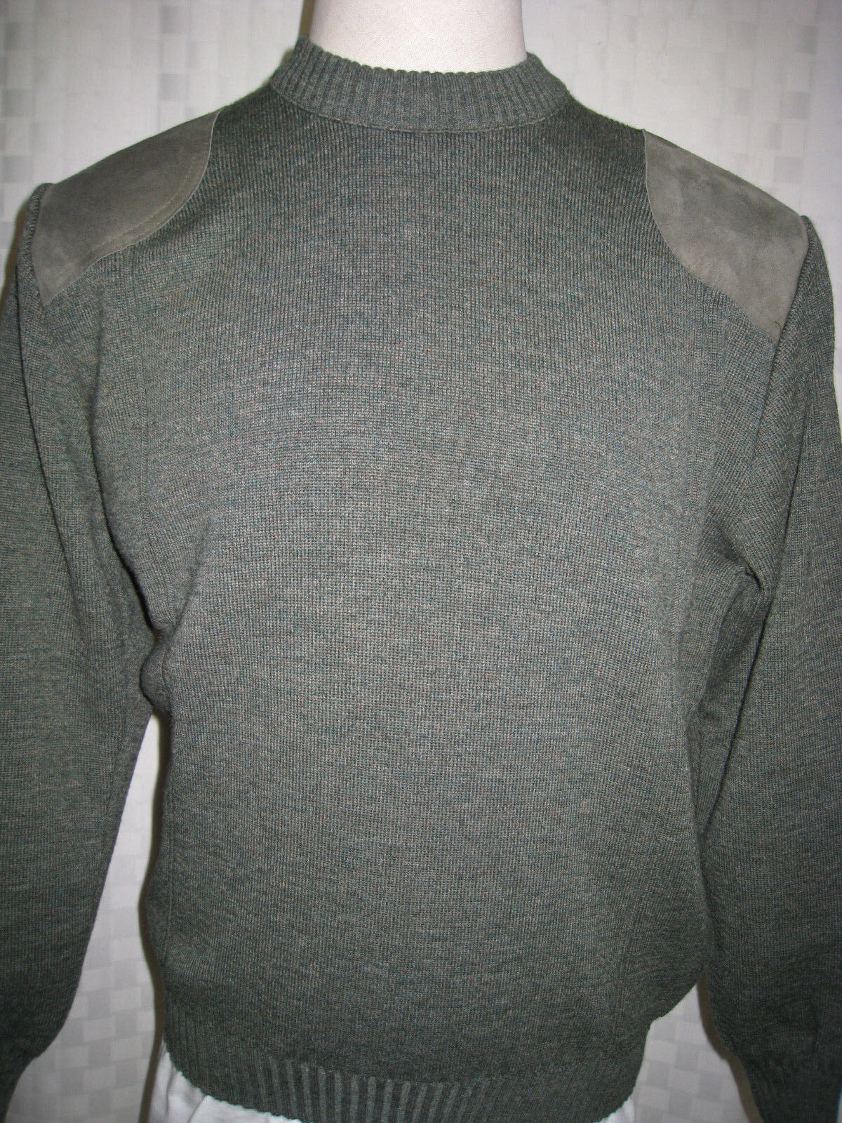 PRIORY PURE NEW WOOL SWEATER SUEDE LEATHER PATCHES  MEN SIZE XXL  MADE IN UK