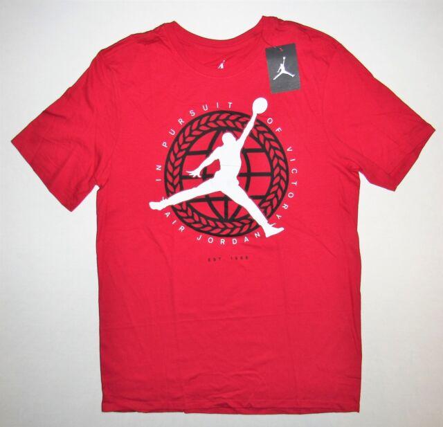 797e1bbe1c8aa3 Air Jordan Mens in Pursuit of Victory Jumpman Globe Shirt Large Red ...