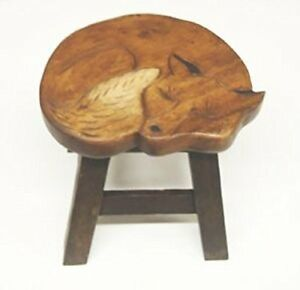Fox Design Hand Carved Acacia Hardwood Decorative Short Stool