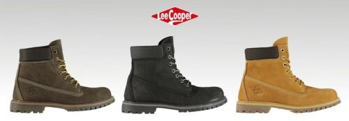 Boys Branded Lee Cooper Full Lace Comfortable 6in Rugged Boots Footwear Size 3-6