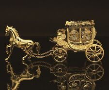 SWAROVSKI CRYSTAL ELEMENTS STUDDED HORSE DRAWN CARRIAGE FIGURINE 24K GOLD PLATED