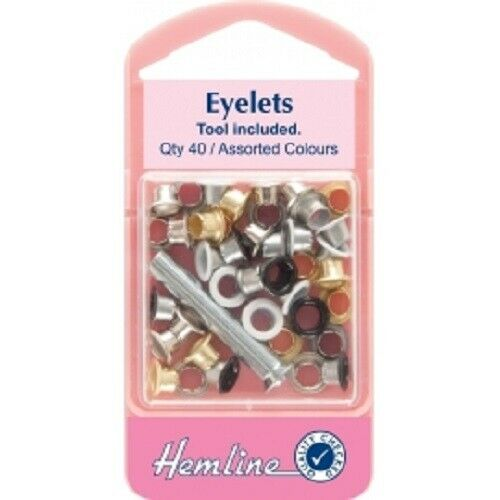 Hemline Eyelets with Tool Assorted Colours 5.5mm x 40pcs Lightweight Craft