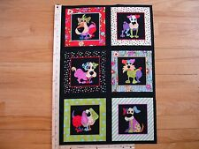 Loralie Dog Happy Reds Yellows Blues (A)   Cotton Quilt Fabric Panel Blocks (6)