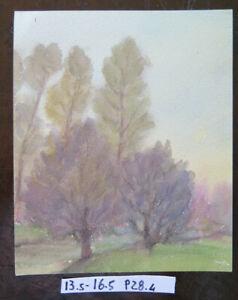 IndéPendant Petit Peinture à Aquarelle Paysage Automne Auteur G.pancaldi Modena P28.4 PosséDer Des Saveurs Chinoises