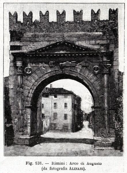 Rimini: Arco Di Augusto. Romagna. Stampa Antica + Passepartout. 1901 Prezzo Di Vendita Diretto In Fabbrica