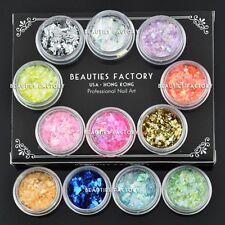 12 Color Nuevo Brillante Hielo Mylar hojas de forma irregular De Acrílico Para Uñas Glitter # 124