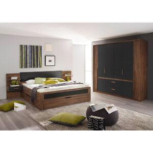 Schlafzimmer Set 2 Bernau Bett Nako Kleiderschrank Eiche Stirling