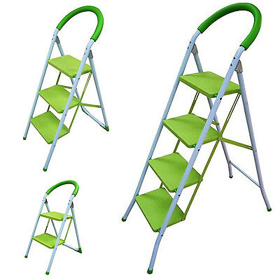 82cm Green Metal 2 Step Ladder Foldable with Non-Slip Feet Home /& Garage Use