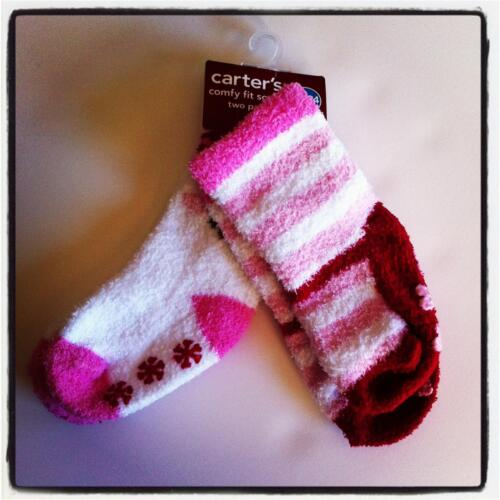 Baby Infant CARTER/'S Comfy Fit Fuzzy SOCKS 2 Pack SZ 0-3 Months SHOE 0-1 HEARTS