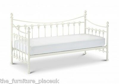 Guest Bed Single Metal Day Bed With Option Of Trundle in Stone White.